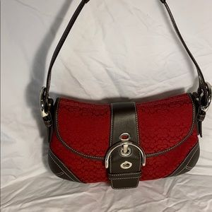 Authentic Red CC fabric and leather Coach purse